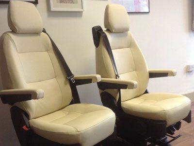 Leather cab seats